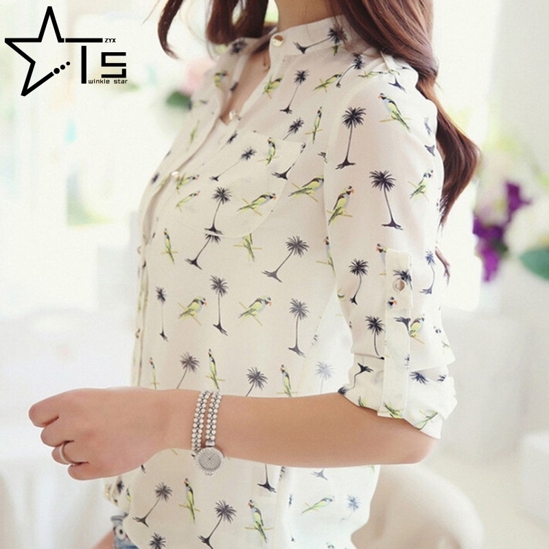 Tiny Star Women Long Sleeve Bird Printed Dot Chiffon 2 Styles Shirts Fashion Slim Blouses Shirts 2016 New Summer Blusas