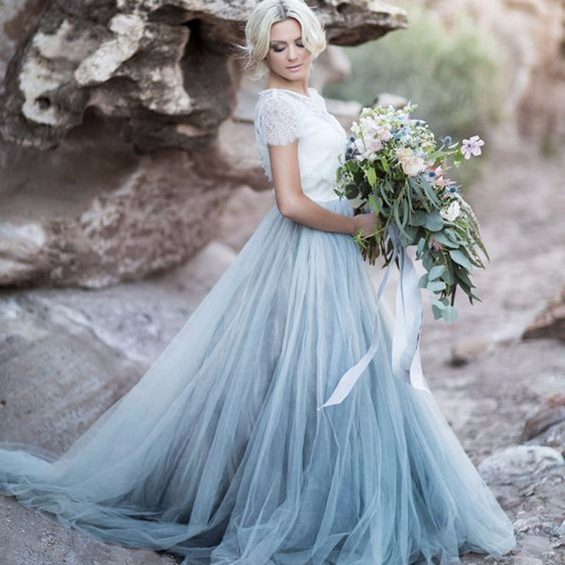 2017 Custom Made Soft Tulle Skirts For Bridal To Wedding Floor Length Tutu Skirt For Women Zipper Style Sky Blue Maxi Skirt