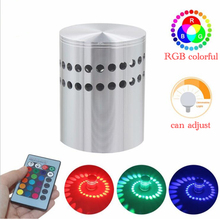 Aluminum Dimmable Spiral Lamp 3W Colorful RGB LED Wall Light with Remote control For Game Room Kids Party Bars Hotel Cafe
