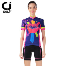 Cheji short sleeved cycling Jersey Sets female summer bicycle wear shirt shorts cycling clothing Factory Direct Sales