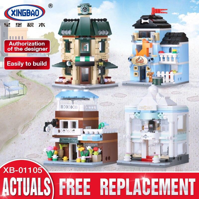 XingBao 01105 1079 pièces Café Boutique De Mariage Fleur Boutique Animalerie Set 4 en 1 Legoed Blocs De Construction Briques Jouets