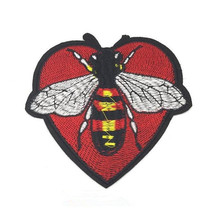 Punk Heart Bee 13CM Iron On Patches For Clothing Fabric Applique Embroidered Stickers Clothes Patch Diy Apparel Accessories