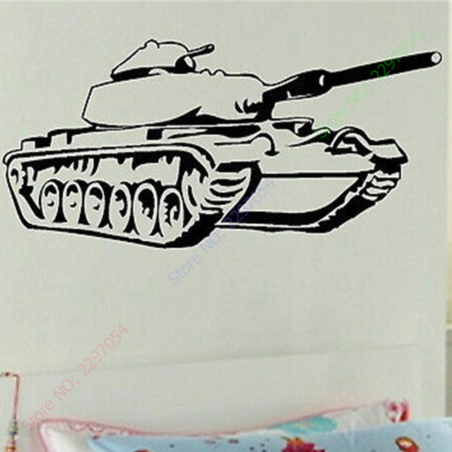 Boys bedroom wall art tank decal large stickers army decor vinyl wall sticker wall paper