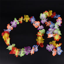 4Pcs/Set Hawaiian Colorful Flower Garland Necklace for Beach Fancy Dress Wedding Party Beach Decoration(China)