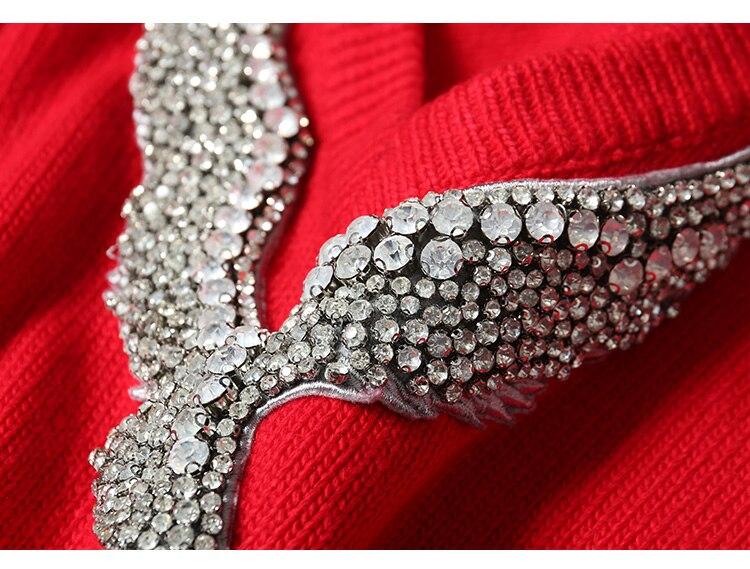 Hohe qualität wolle stricken kleid mode marke cashemere diamant sicken kleid weibliche cartoon muster woolen kleid wq1604 großhandel - 6