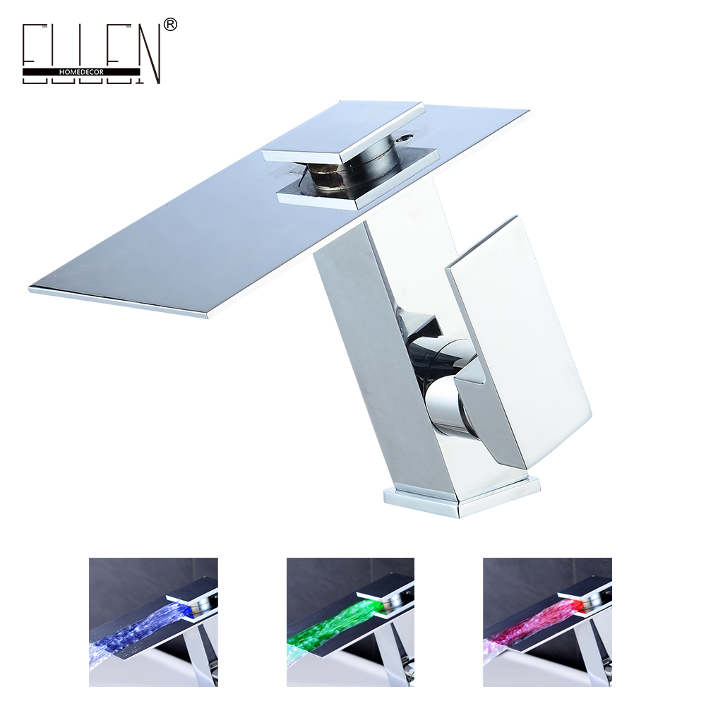 LED Bathroom Faucet Waterfall Basin Sink Mixer 3 Color Temperature Control Chrome Finish