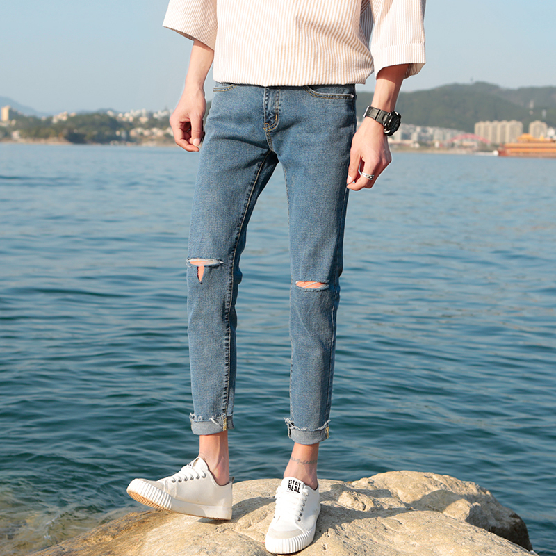 2018 Newest Mens Fashion Trend Casual Pants Broken Holes Trousers Popular Bule Color Jeans Stretch Slim Fit Skinny Homme Jeans