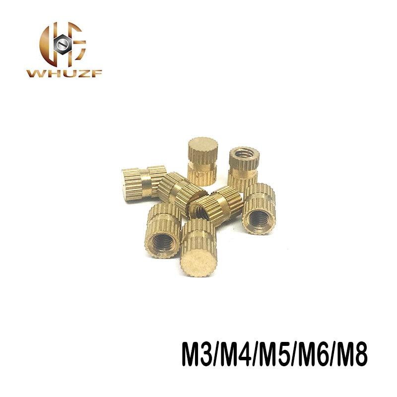 M3/M4/M5/M6/M8 SERIES B inserciones de cobre de un solo paso de agujero ciego, piezas incrustadas de cobre, Tuercas moleteado de cobre Máquina de grabado de modelos de enrutador de madera multifunción de aluminio Placa de inserción