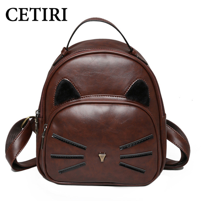 CETIRI Women Cat Ear PU Leather Backpack Cats Backpacks For Teenage Girls School Bags Small Brown Bagpack Children Backpack Bag temptations mixups surfers delight flavor treats for cats pouch mega bag