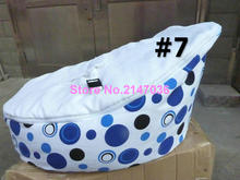 Blue dots with white seat baby bean bag chair, 2 upper covers kids toddlers beanbag sofa seat — free shipping