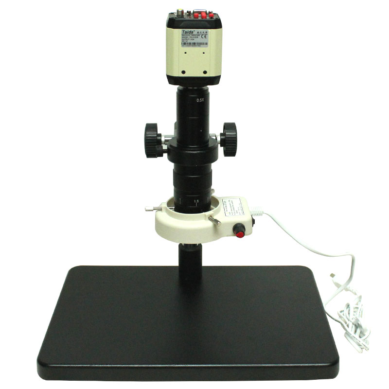 3 in1 Industry Microscope AV USB VGA outputs+ C-Mount Lens+56 LED Light+Stand for Industry Lab AV TV USB Output Video Recorder
