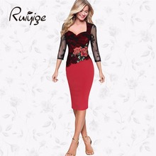 RUIYIGE Plus Size Knee Length Pencil Summer Autumn Elegant Embroidered Floral Lace Party Office Bodycon Dress Vestidos W526