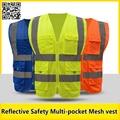 Chaleco reflectante de malla azul amarillo naranja multi-bolsillo de chaleco de seguridad con stripesmesh reflectante motocicleta chaleco envío gratis