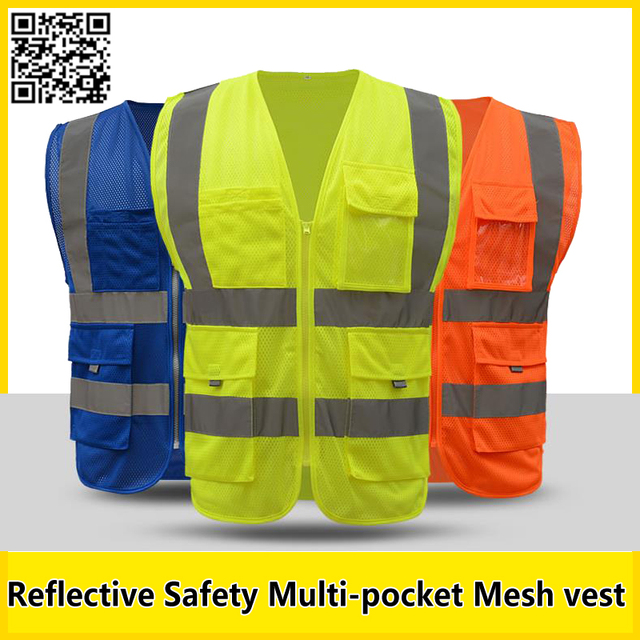 Reflective mesh vest blue yellow orange multi-pocket safety vest with reflective stripesmesh motorcycle vest free shipping