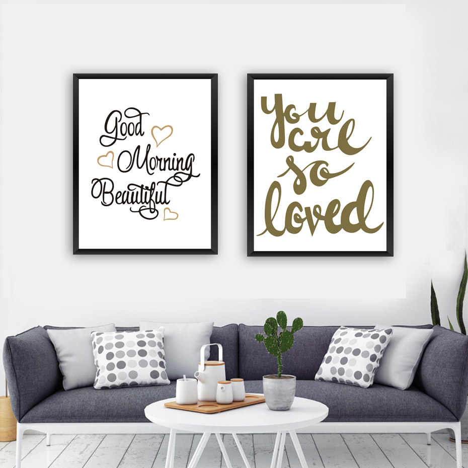 Good Morning Beautiful Sweet Heart Love Quote Canvas Art Print Poster Paintings No Frame Office Wall Pictures Home Decor