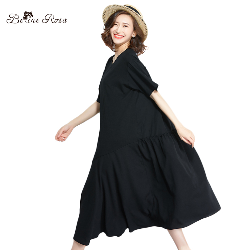 BelineRosa Casual Black Dress for Women Pure Color Simple Style Big Sizes Women Clothing Loose Style Shirt Dress TYW008014 Одежда