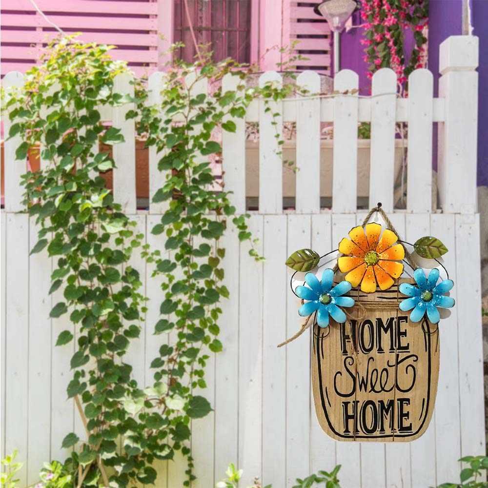 DIY De Madeira de Páscoa Em Casa Decorativo Pendurado Placa Primavera Jardim Cesta de Flores de Ferro Placa de Metal Ornamento de Suspensão Decoração de Páscoa