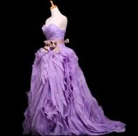 Elegant Ball Gown Organza Purple Wedding Dress Can Can Para Vestidos Novia Abiti Cerimonia Robe Mariee Vera Braedly Bride Gown