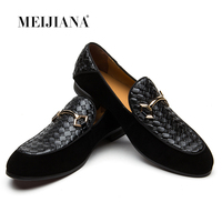 MEIJIANA Luxury Brand Alligator Fashion Casual Men Shoes Genuine Leather Black Slip on Men Loafers Dress Flats for Driving Party
