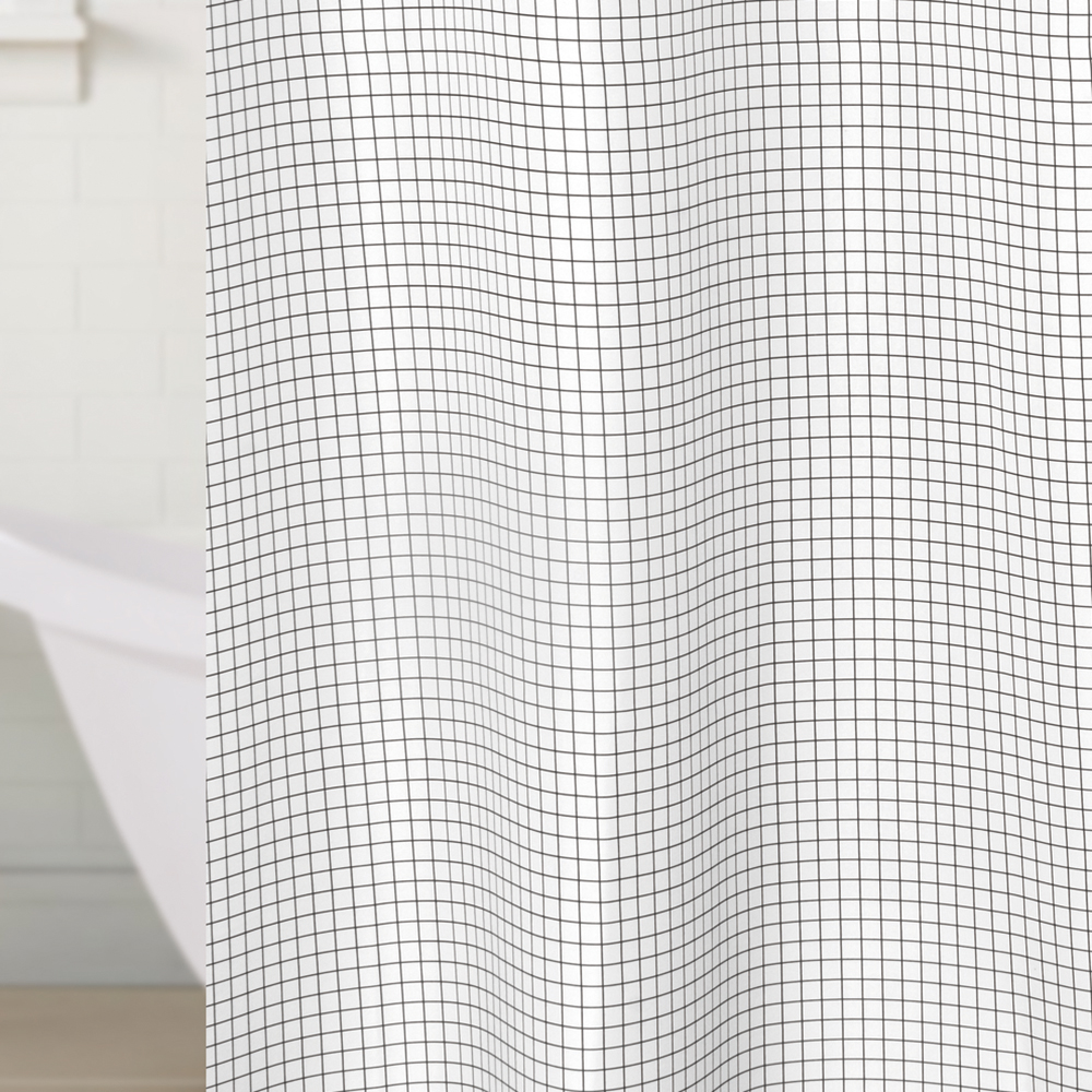 Fabric Polyester White Plaid Waterproof Shower Curtain Thicken Shower  Curtain Bathroom Curtains Size 180x180cm(China