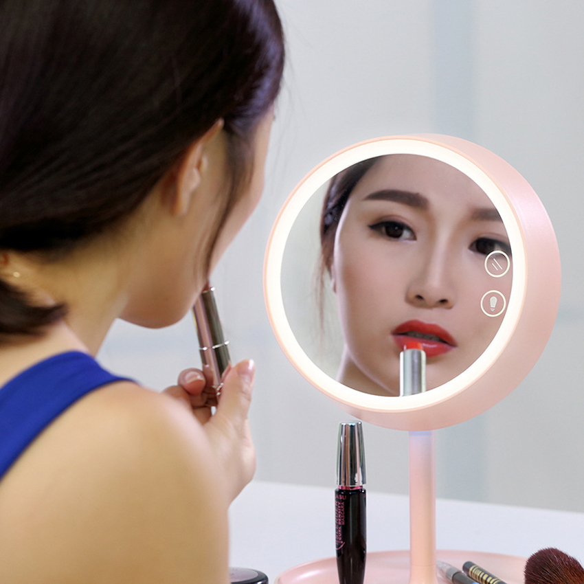 Stylish 3 In 1 LED Touch Screen Makeup Mirror Angle Adjustable LED Table Lamp With Storage Tray Cosmetic LED Vanity Mirror Light
