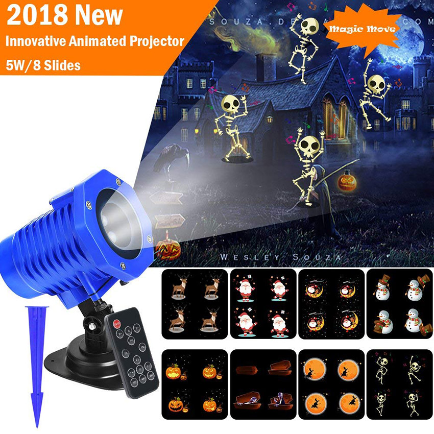 2018 New Christmas Animated Projector Light 8 Slides Waterproof Landscape Movie Motion Show laser Lights for Halloween