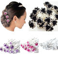 5Pcs Chic Engagement Wedding Shiny Rhinestone Hair Clips Rose Flower Hairpins