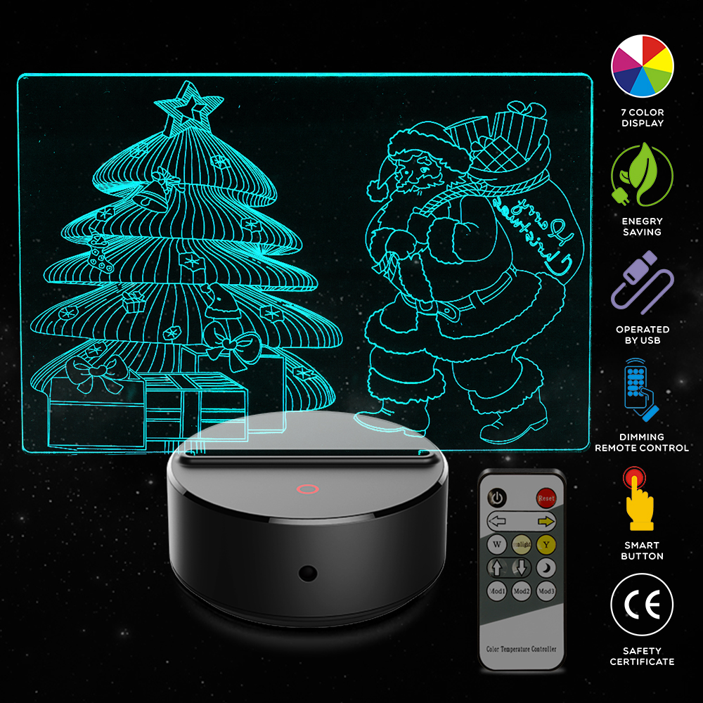New Santa Claus Christmas Tree 3D LED USB Lamp Romantic Decorative Colorful Night Light Girlfriend Mother's Christmas Gift santa claus christmas gift printed decorative pillow case
