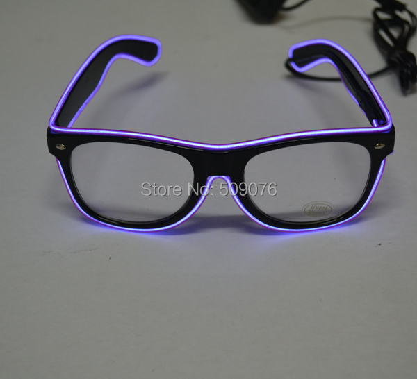 Free Shipping 10pcs lot led glasses El Wire Glow Sun Glasses light up glasses Rave Costume