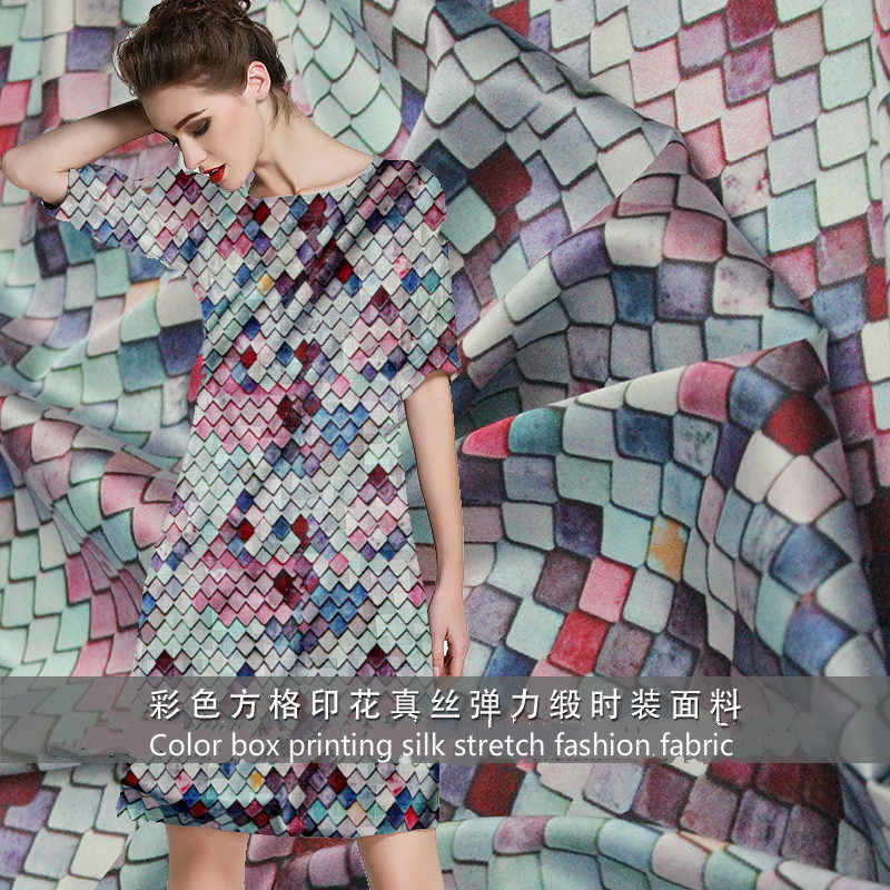 19mm 95% natural silk 5% spandex cube print silk elastic stain fabric for spring and summer skirt shirt dress DIY fashion cloth