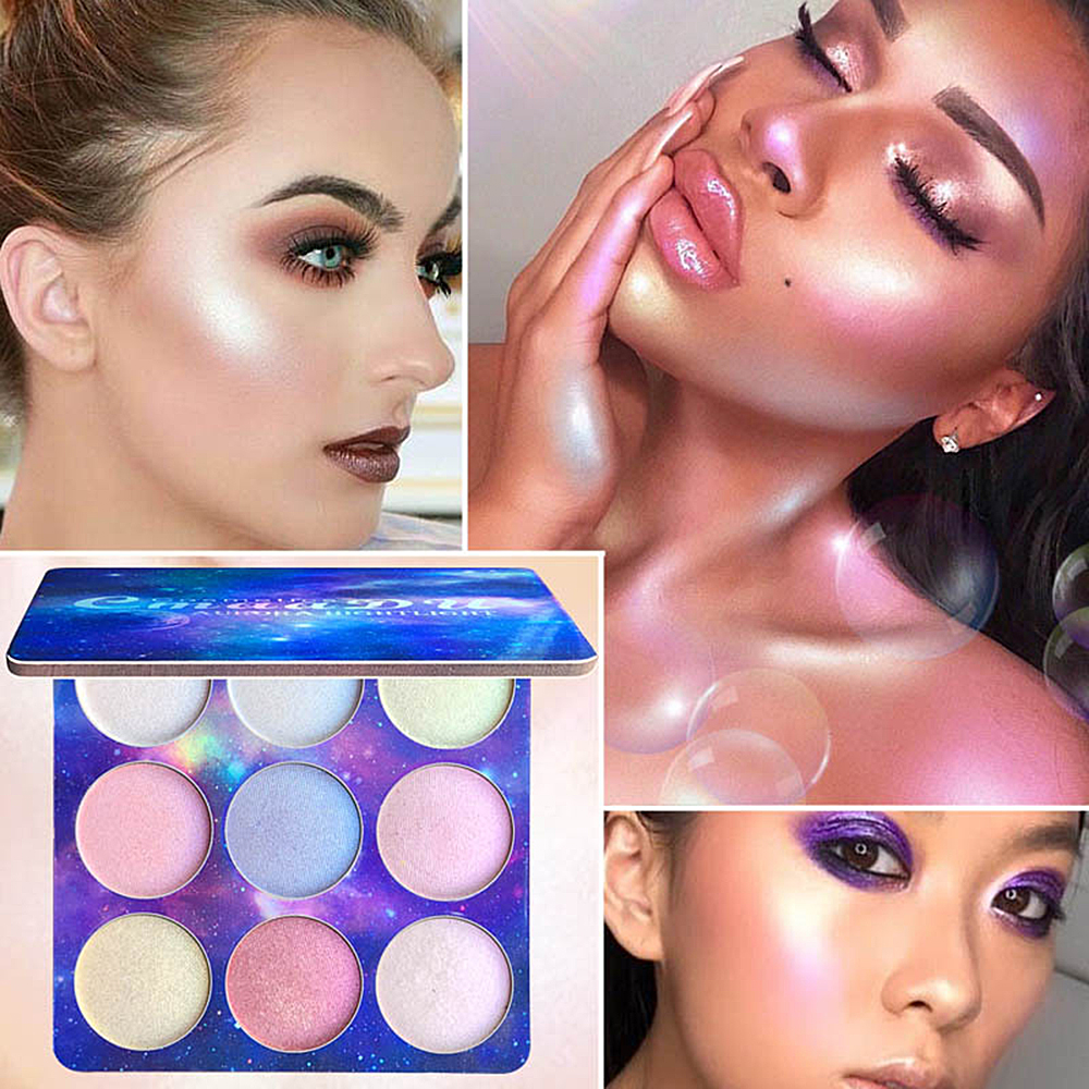 CmaaDu 9 Colors 1Pc Facial Makeup Natural Glitter Eyeshadow Palette Shimmer Highlighter Face contour Repair Cosmetic TSLM2
