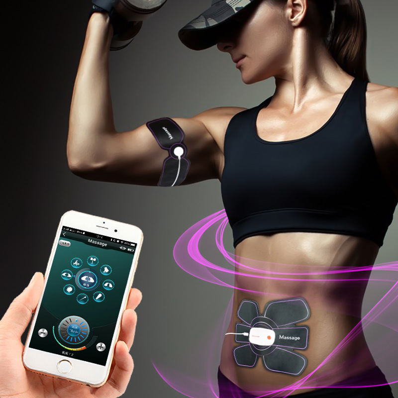 Electronic Smart App Remote Control Slimming Charging Abdominal Arm Wireless Muscle Trainer Pulse Stimulator Treatment
