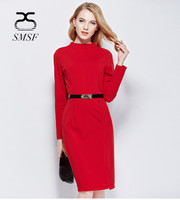 SMSF 2017 Autumn Winter Red Cotton Dress Evening Split Dresses Women Sexy Turtleneck Long Black Friday