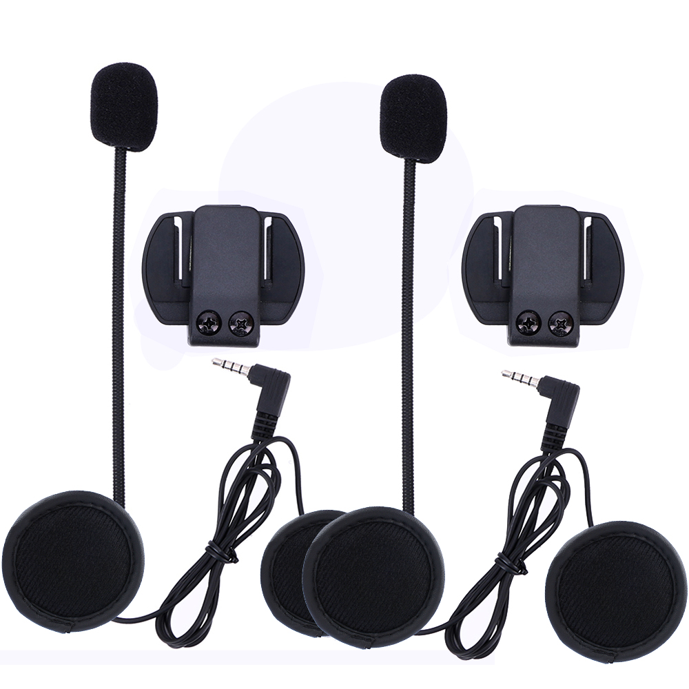 2 Pcs V6 Accessories Earphone Speaker Microphone & Clip Only Suit For V6 V4 Motorcycle Helmet Bluetooth Intercom