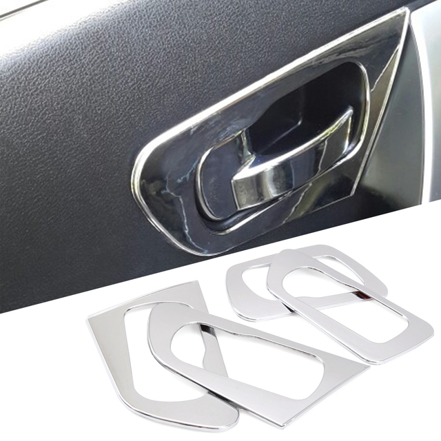4 abs chrome int rieur de la porte poign e cadre cover version pour nissan qashqai dualis 2008. Black Bedroom Furniture Sets. Home Design Ideas