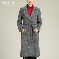 SBetro Long Sleeve Ladies Coats Tweed Tie Waist Patch Pocket Unlined Knee Length Winter Women's Coat Overcoat