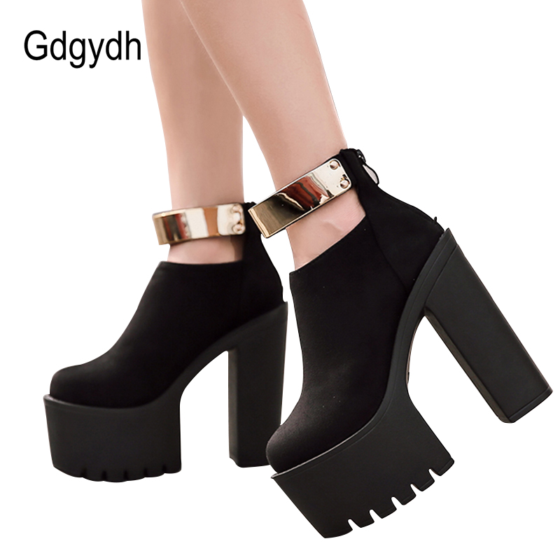 846b438f07cf14 Gdgydh Autumn Women Ankle Boots Platform Brand Designer 2019 Spring Fashion  Bling Thick Heels Ladies Shoes Black Boots Flock-in Ankle Boots from Shoes  on ...