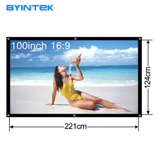 BYINTEK 100 inch 16:9 Portable Projector Screen White cloth material Outdoor type LED Projector Home theater