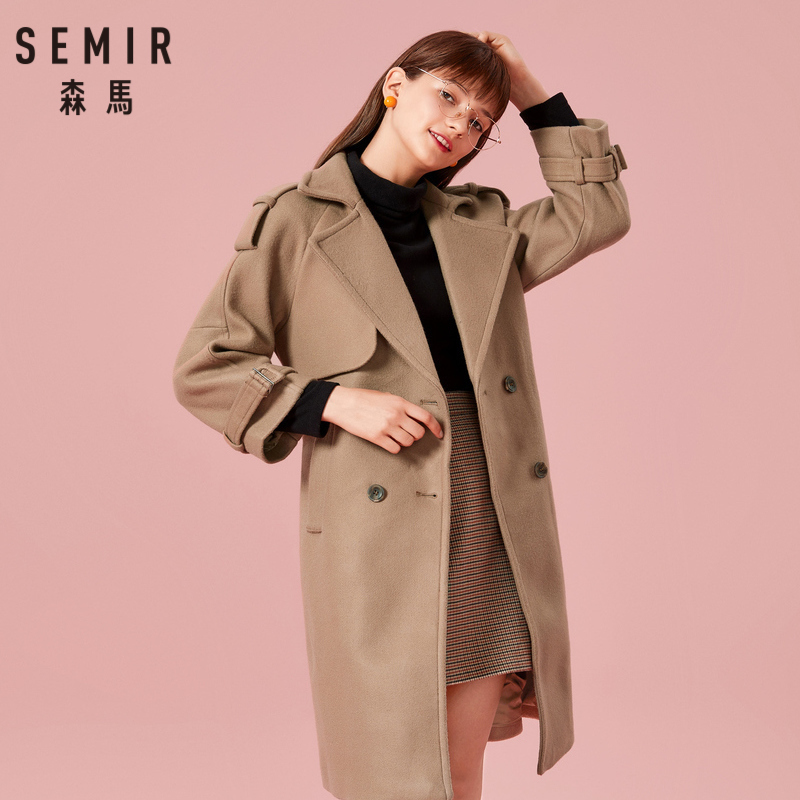 SEMIR Women Double Breasted Coat with Buckle Strap Women's Wool Blend Coat with Slant Pocket Satin Lined Buckle Belt at Cuff