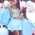 Светло-Голубой Короткие Свадебные Платья Белого Кружева С Длинным Рукавом Мать и Дочь Платья Baby Show Платья Девушки День Рождения Платье