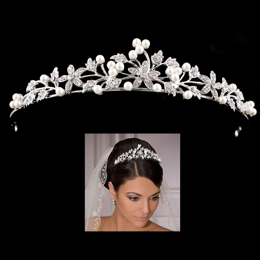 4 Design Pearl Bridal Tiara Crowns For Wedding Bride Women Hair Ornaments Head Decorations Rhinestone Hair Jewelry Accessories