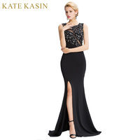 Robe De Soiree Black Lace Long Mermaid Prom Dress Evening Dresses 2017 Sexy See Through Beaded High Split Party Formal Gowns
