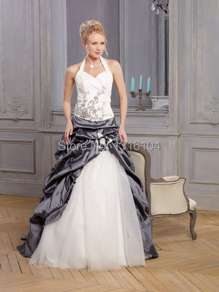 2019 Cheap White And Grey Two Tone A-line Sweep Train Long Bubbles Taffeta Halter Wedding Dress With Color