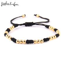 WML New Arrival 4mm gold color Copper Beads Braided Macrame Men Bracelets & Bangles For Women Jewelry