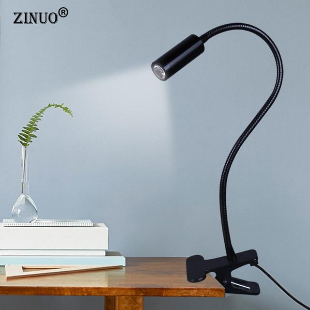 ZINUO High Power LED Desk Lamp Flexible Adjustable Reading Lamp Gooseneck  Clip On Arm Bedside