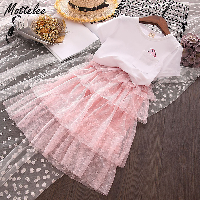 6600a22ba8f72 US $16.69 |Mottelee Girls Clothing Set Summer Bird Pocket Shirt + Skirt  2pcs Kids Clothes Sets Suit for Baby Girl Children Clothes 3 7 Year-in ...