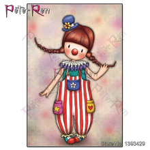 Peter ren Diamond Embroidery girl picture diamond Painting crystal Cross Stitch Cartoon pattern rhinestones art Craft Home Decor