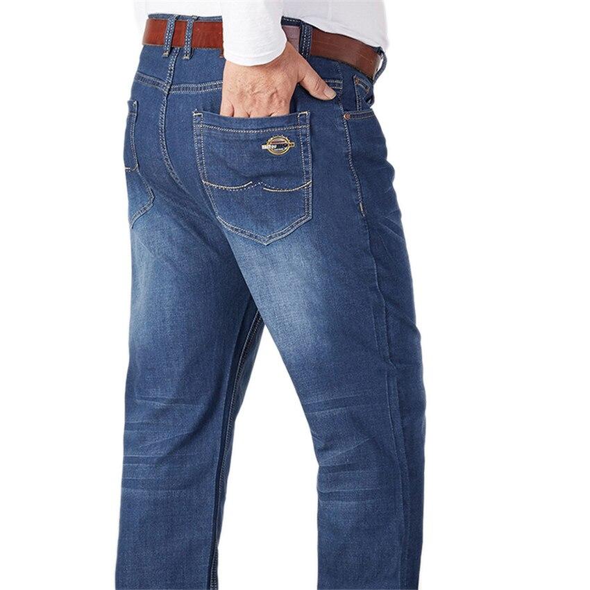 2017 New Hot Sale Classic Men's Jeans Loose Casual Solid Jean Blue Straight Trousers Denim Zipper Fly Full Length Pants X1030A men classic blue jeans casual straight solid loose cotton elastic waist jean jogger pants for men d5085 s 4xl
