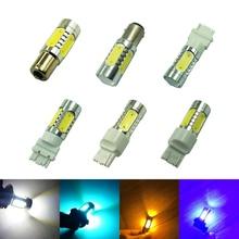 1×7.5 w 3156 3157 1156 1157 COB 7440 7443 Lâmpadas LED Carro Luzes de Nevoeiro Lâmpadas DRL Branco Azul