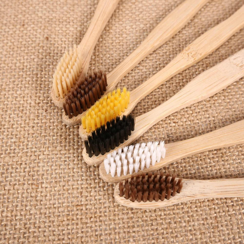 Adults Convenient Bamboo Charcoal Disposable Toothbrush Cleaning Mouth Daily Use Lightweight Wood Handle Soft Bristle Portable